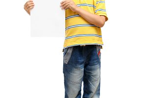 Child holding blank poster