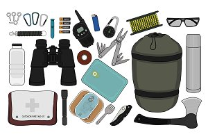 Set of camping equipment. Vector