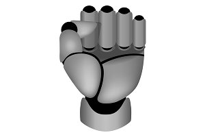 Clenched cyborg hand. Vector