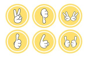 Gestures. 6 icons set. Vector