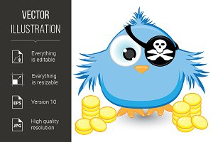 Cartoon pirate sparrow with gold coi