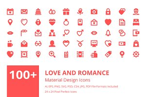 100+ Love and Romance Material Icons