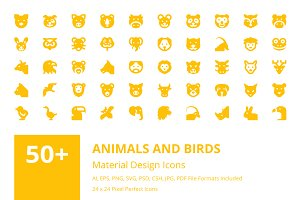 50+ Animals and Birds Material Icons