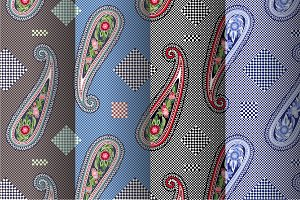 4 Seamless Paisley Patterns