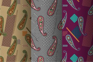 3 Abstract Paisley Patterns