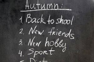 Chalk painted plan Autumn resolution with hand
