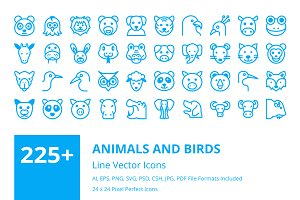 225+ Animals and Birds Line Icons