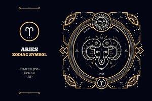 Thin line zodiac label - Aries