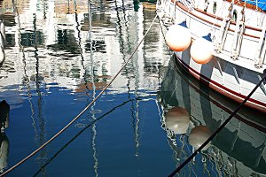 dock, boats, water, reflections