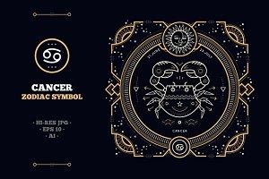 Thin line zodiac label - Cancer