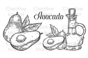 Hand drawn avocado set