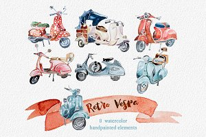 Watercolor Retro Vespa Clipart