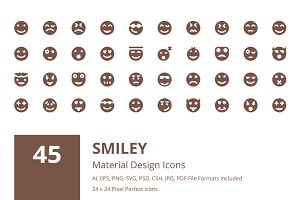 45 Smiley Material Design Icons