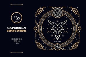 Thin line zodiac label - Capricorn