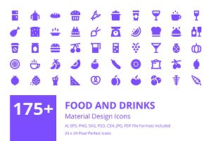175+ Food and Drinks Material Icons