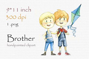 Digital clipart, cute brothers