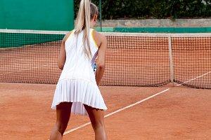 woman in a tennis dress