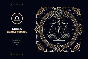 Thin line zodiac label - Libra