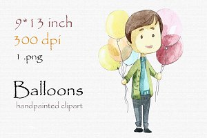 Digital clipart, boy with balloons