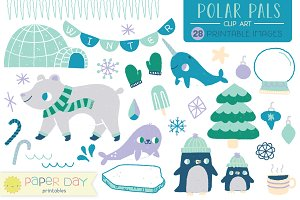 Polar Pals Winter Clip Art | Vector