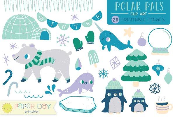 Polar Pals Winter Clip Art | Vector