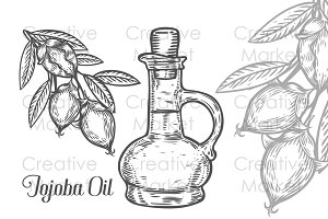 Hand drawn jojoba oil