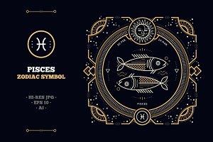 Thin line zodiac label - Pisces