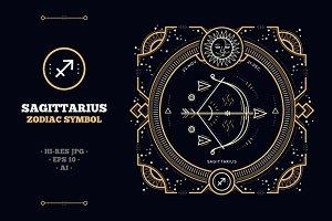 Thin line zodiac label - Sagittarius