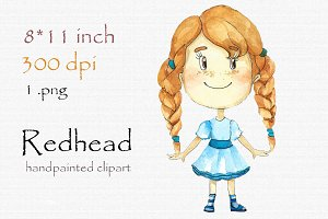 Digital clipart, redhead girl