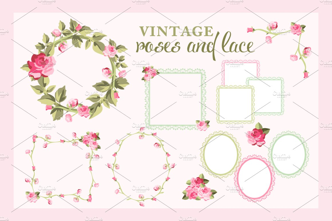 Rose Wreaths and Lace Frames Vectors ~ Illustrations ~ Creative Market