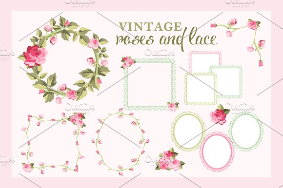 Rose Wreaths And Lace Frames Vectors