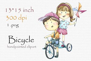 Digital clipart, kids with bicycle