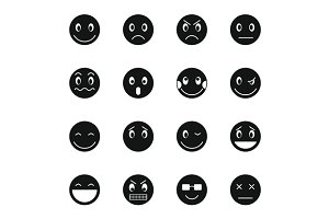 Emoticon icons set, simple style