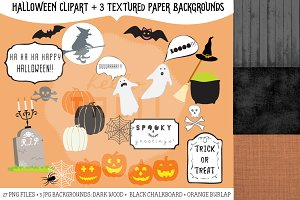 Halloween Clip Art + Papers