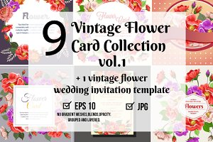 9 vintage flower card collection