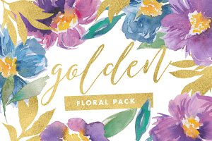 Golden - Watercolor Flowers