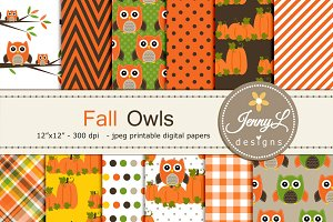 Fall Owl Autumn Digital Papers
