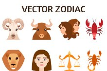 Set of zodiac stylized icons vector