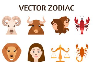 Set of zodiac stylized icons vector