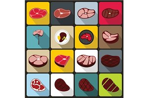 Steak icons set, flat style