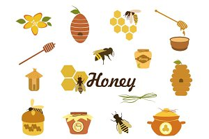 Honey icons vector set