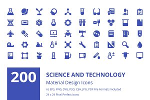 200 Science and Technology Icons