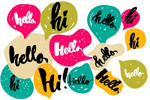 "Speech bubbles set ""Hello"""