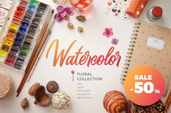 -50% Sale. Watercolor Collection - Illustrations