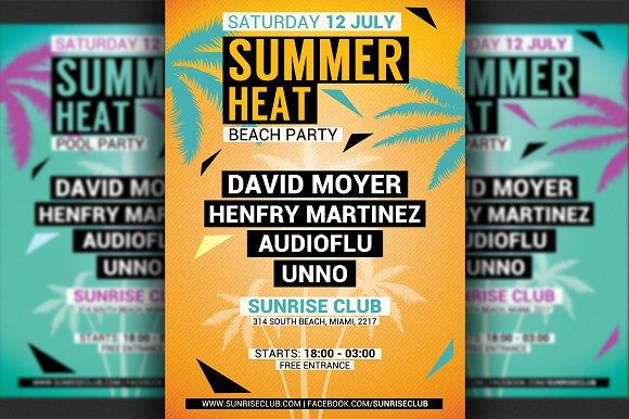 minimal summer party flyer template flyer templates creative market