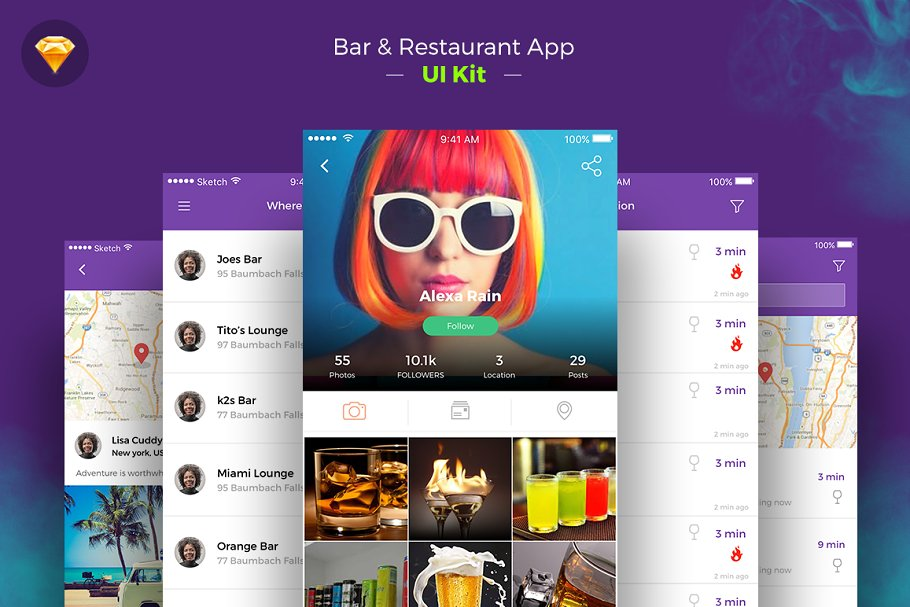 Restaurant iOS App freebie ui kit