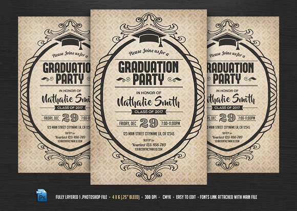 Graduation Party Flyer Template Flyer Templates on Creative Market – Graduation Flyer Template