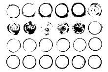 Set of grunge circle brush strokes
