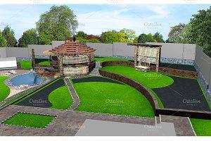 Suburban yard landscaping