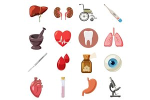 Medical icons set, cartoon style